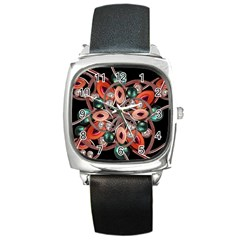 Luxury Ornate Artwork Square Leather Watch by dflcprints