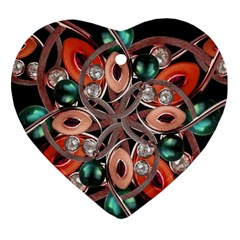 Luxury Ornate Artwork Heart Ornament (two Sides) by dflcprints