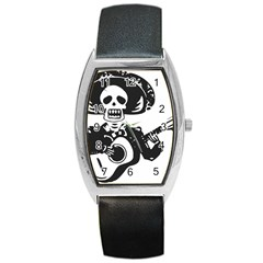 Day Of The Dead Tonneau Leather Watch by EndlessVintage