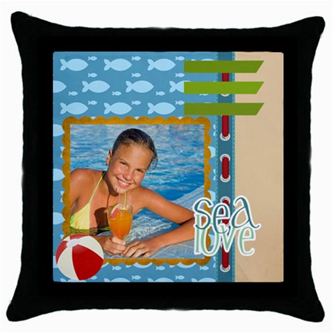 Summer By Summer Time    Throw Pillow Case (black)   589gh4uj8qtd   Www Artscow Com Front