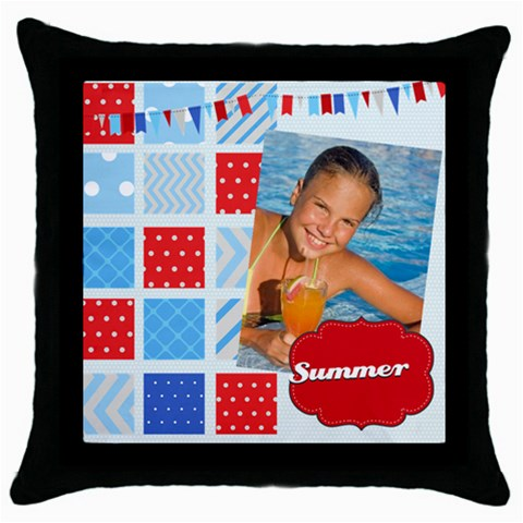 Summer By Summer Time    Throw Pillow Case (black)   Invba94im5jv   Www Artscow Com Front