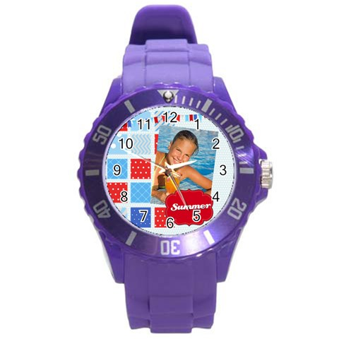 Summer By Summer Time    Round Plastic Sport Watch (l)   6axf8rw0ge5a   Www Artscow Com Front