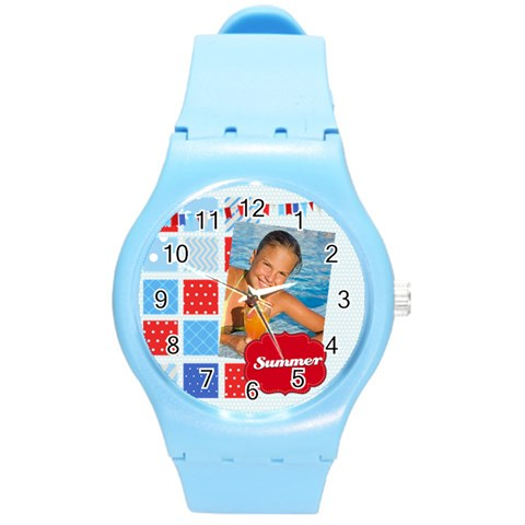 Summer By Summer Time    Round Plastic Sport Watch (m)   3t0ss3pa080p   Www Artscow Com Front