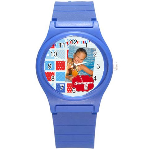 Summer By Summer Time    Round Plastic Sport Watch (s)   Lxy8pfknw4jh   Www Artscow Com Front
