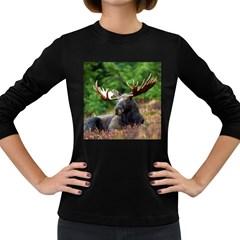 Majestic Moose Women s Long Sleeve T Shirt (dark Colored) by StuffOrSomething