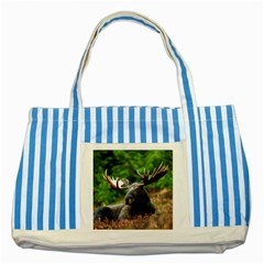 Majestic Moose Blue Striped Tote Bag by StuffOrSomething