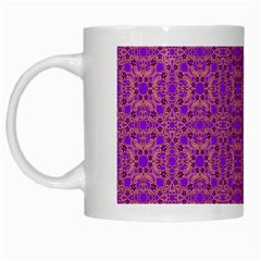 Purple Moroccan Pattern White Coffee Mug by SaraThePixelPixie