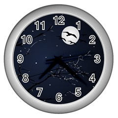 Night Birds And Full Moon Wall Clock (silver) by dflcprints