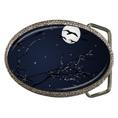 Night Birds and Full Moon Belt Buckle (Oval) by dflcprints