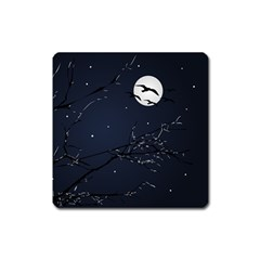Night Birds And Full Moon Magnet (square) by dflcprints