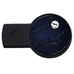 Night Birds And Full Moon 2gb Usb Flash Drive (round)