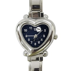 Night Birds And Full Moon Heart Italian Charm Watch  by dflcprints