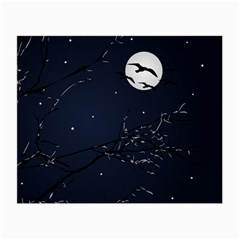 Night Birds And Full Moon Glasses Cloth (small, Two Sided)