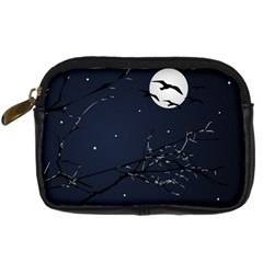 Night Birds And Full Moon Digital Camera Leather Case by dflcprints