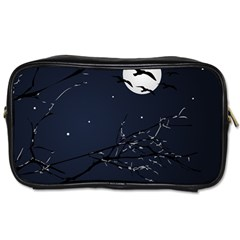 Night Birds And Full Moon Travel Toiletry Bag (one Side)