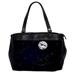 Night Birds And Full Moon Oversize Office Handbag (one Side)