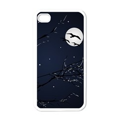Night Birds And Full Moon Apple Iphone 4 Case (white)