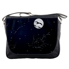 Night Birds and Full Moon Messenger Bag by dflcprints
