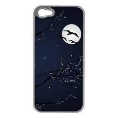 Night Birds And Full Moon Apple Iphone 5 Case (silver)
