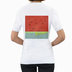 Watermelon By Arts    Women s T Shirt (white) (two Sided)   V1i7gqkyv49l   Www Artscow Com Back