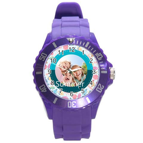 Summer By Summer Time    Round Plastic Sport Watch (l)   7s2lfkhxaavt   Www Artscow Com Front