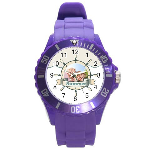 Summer By Summer Time    Round Plastic Sport Watch (l)   18sqppotx7qw   Www Artscow Com Front