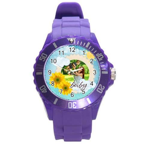 Summer By Summer Time    Round Plastic Sport Watch (l)   Xxtostl2jnny   Www Artscow Com Front