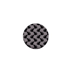 Black Cats On Gray 1  Mini Button Magnet by bloomingvinedesign