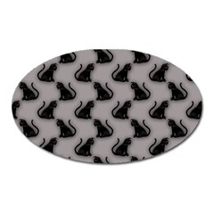 Black Cats On Gray Magnet (oval) by bloomingvinedesign