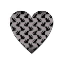 Black Cats On Gray Magnet (heart) by bloomingvinedesign