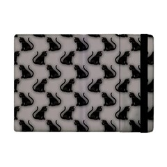 Black Cats On Gray Apple Ipad Mini Flip Case by bloomingvinedesign