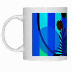 Blue Green Stripes Dots White Coffee Mug by bloomingvinedesign