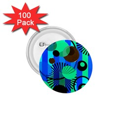 Blue Green Stripes Dots 1 75  Button (100 Pack) by bloomingvinedesign