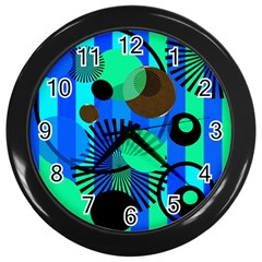 Blue Green Stripes Dots Wall Clock (black) by bloomingvinedesign