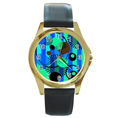 Blue Green Stripes Dots Round Leather Watch (gold Rim)  by bloomingvinedesign