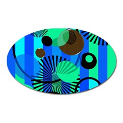 Blue Green Stripes Dots Magnet (oval) by bloomingvinedesign