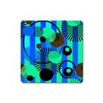 Blue Green Stripes Dots Magnet (Square) Front