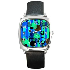 Blue Green Stripes Dots Square Leather Watch by bloomingvinedesign