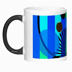 Blue Green Stripes Dots Morph Mug by bloomingvinedesign
