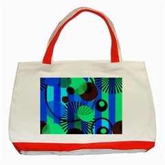 Blue Green Stripes Dots Classic Tote Bag (red) by bloomingvinedesign