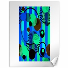 Blue Green Stripes Dots Canvas 36  X 48  (unframed) by bloomingvinedesign