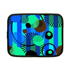 Blue Green Stripes Dots Netbook Sleeve (Small) by bloomingvinedesign