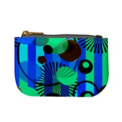 Blue Green Stripes Dots Coin Change Purse by bloomingvinedesign