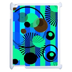 Blue Green Stripes Dots Apple Ipad 2 Case (white) by bloomingvinedesign