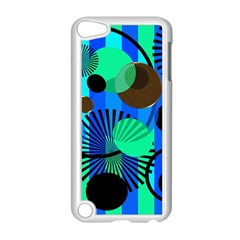 Blue Green Stripes Dots Apple Ipod Touch 5 Case (white) by bloomingvinedesign
