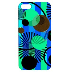 Blue Green Stripes Dots Apple Iphone 5 Hardshell Case With Stand by bloomingvinedesign
