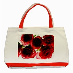 Pink And Red Roses On White Classic Tote Bag (red) by bloomingvinedesign