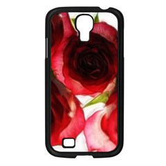 Pink And Red Roses On White Samsung Galaxy S4 I9500/ I9505 Case (black) by bloomingvinedesign