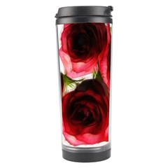Pink And Red Roses On White Travel Tumbler by bloomingvinedesign