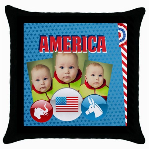 Usa 4 July By Usa   Throw Pillow Case (black)   0rhmhd5h18wv   Www Artscow Com Front